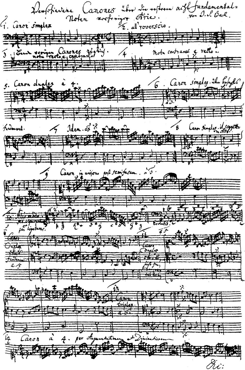 Imagen de la partitura de los 14 cánones