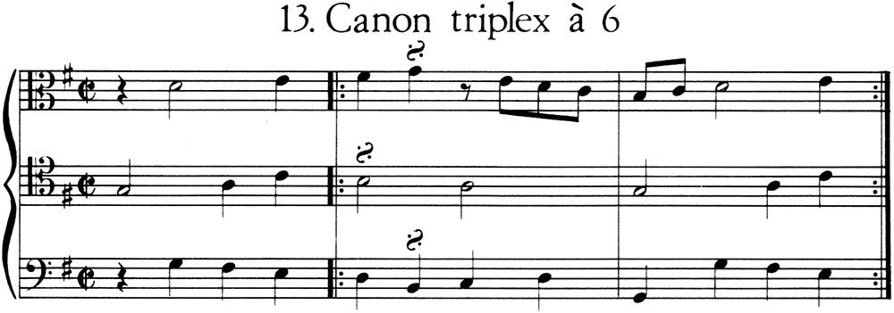 Imagen de la partitura del Canon triplex a 6 voces
